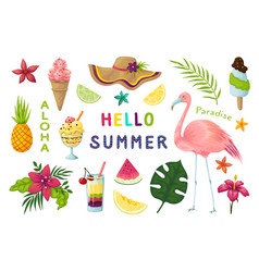 Exotic stickers cute summer tropical elements vector