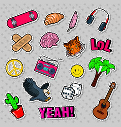 fashion badges patches stickers vector image