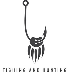Fishing and hunting with paw bear and fishing vector