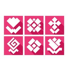 Flowers geometry icons vector