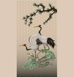 Folding screen in chinoiserie style with white vector