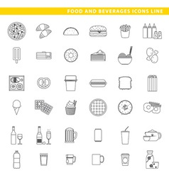 Food and beverages icons line vector