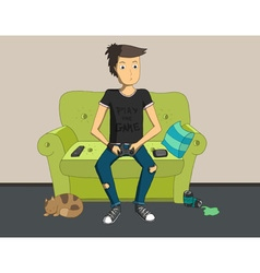 Gamer sitting at home and playing video games vector image