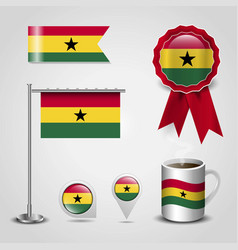 Ghana country flag place on map pin steel pole vector