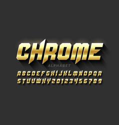 Gold matt chrome style font vector
