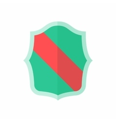 Green shield with red stripe icon flat style vector