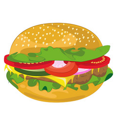 hamburger in cartoon style vector image