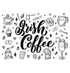 hand lettering name coffee with sketch for vector image