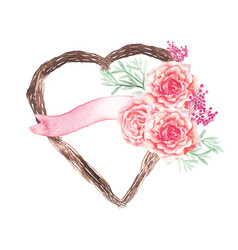Heart plant and pink flower wedding decoration vector