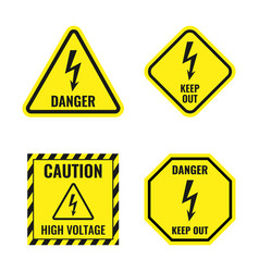 high voltage icons danger electricity sign set vector image