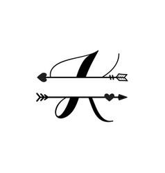 Initial k love monogram split letter isolated vector