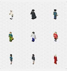 isometric human set of male female seaman and vector image