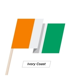 Ivory Coast Sharp Ribbon Waving Flag Isolated on vector