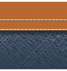 Jeans fabric and leather background vector