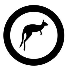 kangaroo icon black color in circle vector image