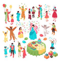 Kids holidays animator set vector