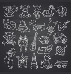 Kkid toys set hand drawn and isolated on black vector