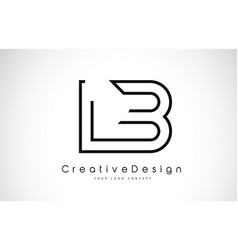 Lb l b letter logo design in black colors vector