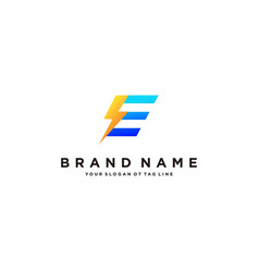 Letter e flash electrical logo design vector
