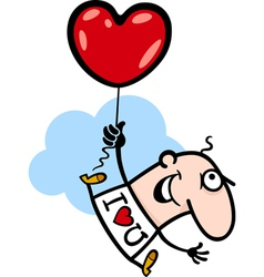 man wit valentine hearth balloon cartoon vector image