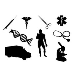 Medical objects silhouettes vector