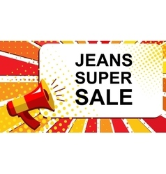 Megaphone with JEANS SUPER SALE announcement Flat vector