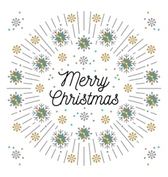 merry christmas lettering and elegant frame line vector image