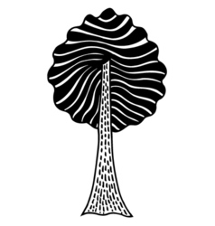 Monochrome abstract tree vector