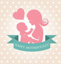 Mother carrying her child on heart background vector image