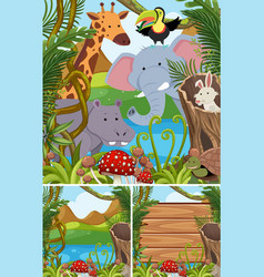 nature scenes with many animals in forest vector image