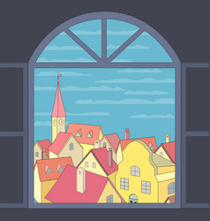 Old town view vector