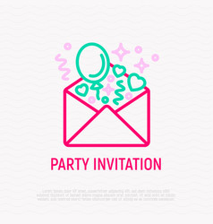 party invitation envelope with balloons and heart vector image