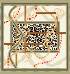 pattern with golden chain belts and leopard print vector image