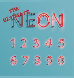 Realistic red neon character typeset vector