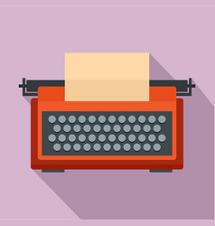 Red typewriter icon flat style vector