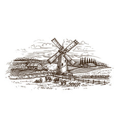 Rural landscape village sketch hand drawn farm vector