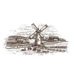 rural landscape village sketch hand drawn farm vector image