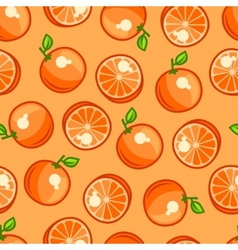 Seamless pattern with stylized fresh ripe oranges vector
