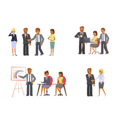 set of business meetings concept vector image