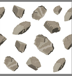 set of rock stone seamless pattern vector image