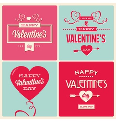 Set valentines day card design vector