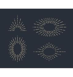 Set vintage sunbursts in different shapes vector