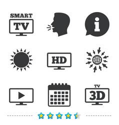 smart tv mode icon 3d television symbol vector image