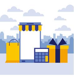 smartphone shopping bag calculator gift online buy vector image