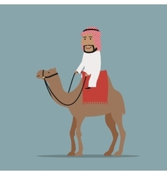 Smiling arab businessman riding on camel vector image