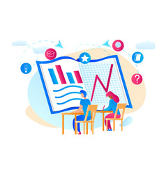 students watchig at huge notebook with graphs vector image