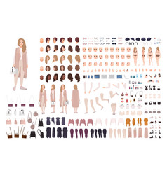 Stylish modern girl animation kit or diy set vector