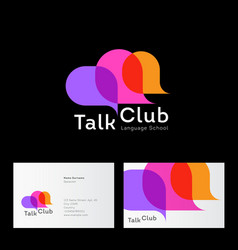 talk club logo language school logo conversation vector image