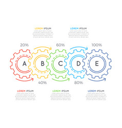 Thin line business infographic template with gears vector