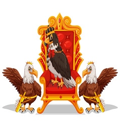 Three eagles sitting in the throne vector